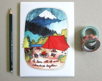 Valentine's Day Card - Anniversary Card - Love Card - Card for Boyfriend - Card for Girlfriend - Camping - Love - Adventures Together