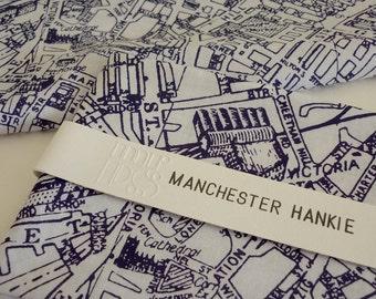 Manchester Hankie screen printed vintage map handkerchief