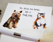 Watercolor Dogs and Cats Printed Pet Sympathy Card with envelope