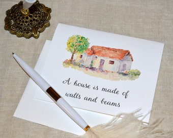 "Watercolor Cottage ""Walls and Beams""  Printed Housewarming Card with envelope"