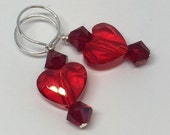 Light Red and Deep Red 2 Hearts Swarovski Crystal Stitchmarkers