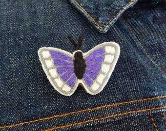 Hand Embroidered Purple and White Butterfly Brooch