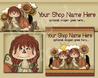Premade Etsy Cover Photo  - Large Etsy Banner - Etsy Shop Banner - SHOP ICON - Halloween - Fall Annie - Pumpkins - Crows - Sunflowers