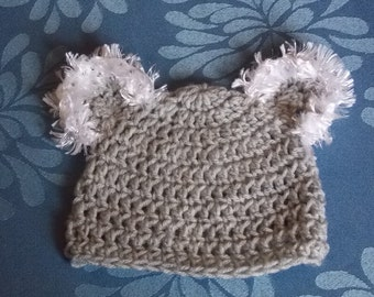 koala beanie bear hat with fuzzy ears, preemie newborn baby infant boy or girl crochet  cap , made in Australia