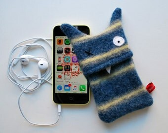 Blue and Yellow Stripey Monster iPhone or iPod Cozy