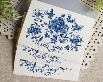 Chinese Indigo Thank You Notes set of five Flowers Birds Butterflies Navy Blue