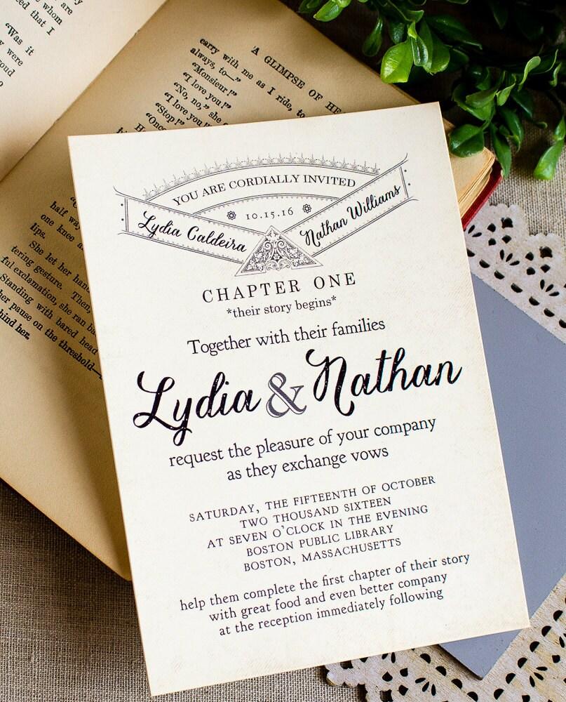 Literary Wedding Invitation Vintage Storybook Wedding