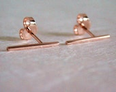 15mm x 1mm 14k Rose Gold Ear Pin Earrings Modern Romantic Long Bar Studs by SARANTOS
