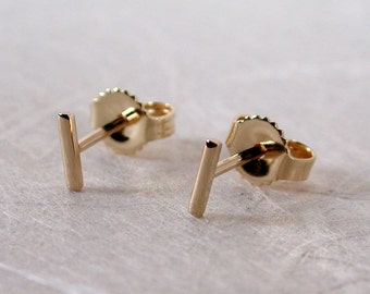 5mm x 1mm Solid 14k Gold Earrings Tiny Little Bar Studs Gold Skinny Thin 14k Yellow Gold Staple Stud Earrings by Susan Sarantos