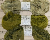 Seam Binding , Crinkled , 18 Yards , FOREST MOSS , New Set , Green Ribbon , Olive Greens , Vintage Style Ribbon , Bias Tape , Rustic Ribbon