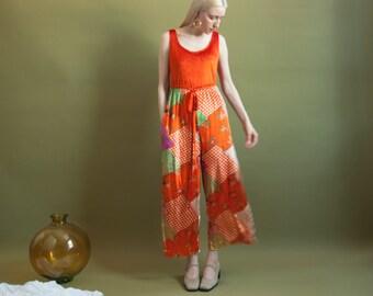 orange patchwork velvet wide leg jumpsuit / 70s hippie jumpsuit / s / 1774d / B1