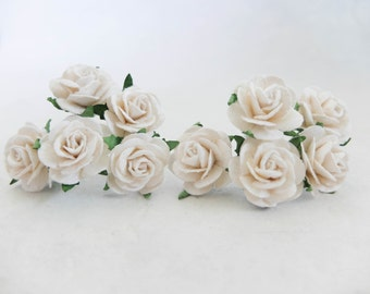 "10 25mm white mulberry paper roses - 1"" paper flowers"
