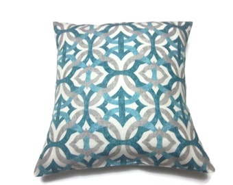 Decorative Pillow Cover Teal Gray Ivory Damask Same Fabric Front/Back Linen Toss Throw Accent 18x18 inch x