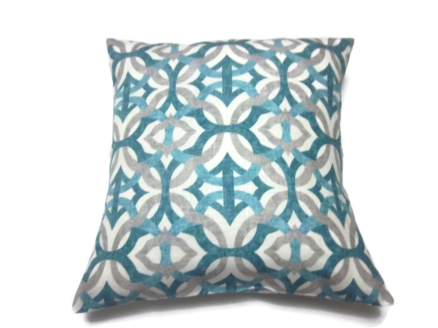 Decorative Pillows With Teal : Decorative Pillow Cover Teal Gray Ivory Damask Same Fabric