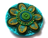 CLEMATIS Flower felt brooch with freeform hand embroidery