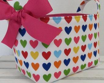 Valentine Fabric Organizer Storage Container Basket  Bin Bucket - Multi Color Hearts