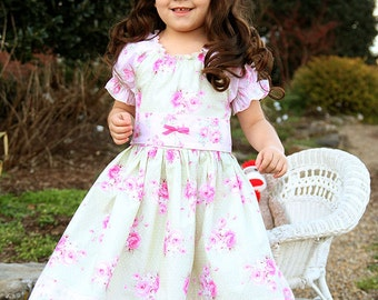 Shabby green pink peasant dress, chic Easter dress, birthday twirl dress, everyday dress, romantic short sleeve dress, baby girl dress