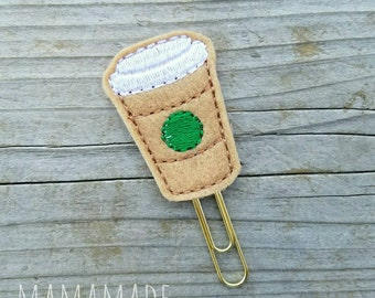 Coffee or Latte Feltie - Planner Clip, Magnet or Hairclip (bookmark, planner or journal clip)