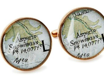 Aspen Cufflinks Vintage Maps Golden Bronze Colorado Atlas