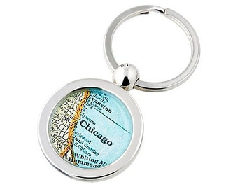 Chicago Keychain Map Key Ring Fob Vintage Atlas for Mom or Dad Free Shipping