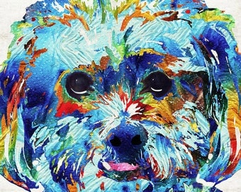 Lhaso Apso Dog Art Colorful PRINT from Painting Cute Rainbow Dog Pets Small Doggie Pet Pop CANVAS Ready To Hang Large Fun Funny Love Animal