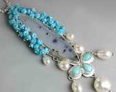 Montana Agate Turquoise and Pearls Statement Necklace. Long Necklace. Argentium Sterling Silver Necklace.