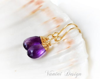 Amethyst Earrings, Dangle Earrings in Gold, Gemstone Earrings , Wire Wrapped Amethyst Earrings, Gift for Her