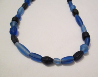 Blue and Light Blue Matte Glass Beaded Necklace