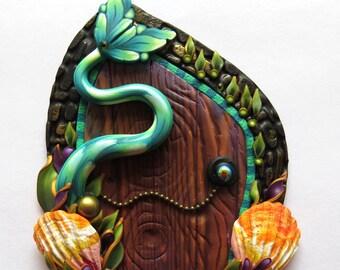 Mermaid Tail Fairy Door, Miniature Door, Fantasy Pixie Portal, Teal Blue Mermaid Tail
