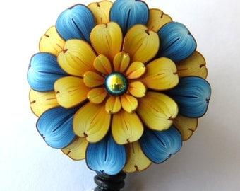Yellow and Blue Flower ID Badge Reel, Scissor Keeper, ID Lanyard, Scissor Fob