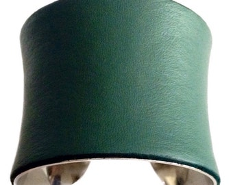 Dark Sage Green Leather Cuff Bracelet - by UNEARTHED