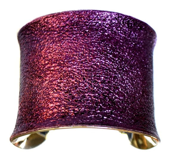 Silver Cuff Bracelet in Crinkled Purple Metallic Genuine Leather  - by UNEARTHED