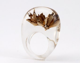 Forest Thuja Ring, Classic Clear Resin Ring with Thuja