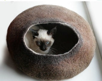 ON SALE till 30.09 Cat Nap Cocoon / Cave / Bed / House / Vessel - Hand Felted Wool - Crisp Contemporary Design - READY To Ship Warm Brown Bu