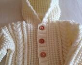Cosy Baby Snuggle Sack/Sleepsuit/Sleeping Bag/Baby Bag Cream Aran 3-6 Months Ready to Ship