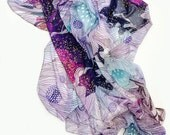 Floral scarf, printed scarf, abstract scarf, botanical print scarf, soft purple scarf, original illustration by Yellena