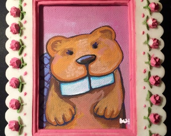 Original Artwork- Happy Little Beaver with big teeth on pink in recycled decorative frame with 3-d pink Roses