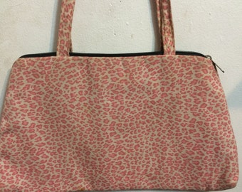 Vintage Pink Leopard Cotton Zippered Purse Handbag