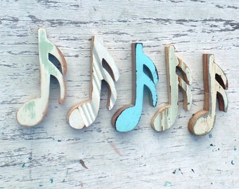 Musical Notes Wall Art, 5 Sixteenth Notes, Reclaimed Wood Decor, Music Decor, Music Wall Art, Girls Nursery Decor, Rustic Wall Decor