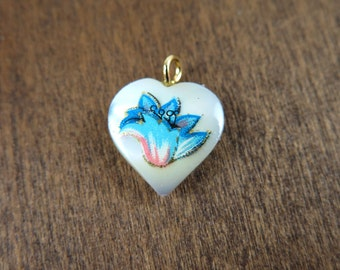 Vintage Mother of Pearl Heart Charms with Blue & Orange Flower Decal (4X) (NS532)