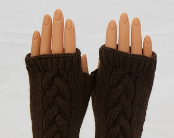 Chocolate Brown Super Wash Wool Arm Warmer Fingerless Mitts or Gloves
