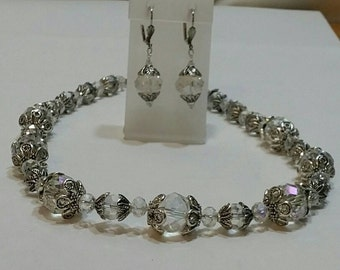 Renaissance Crystal Necklace and Earrings Set