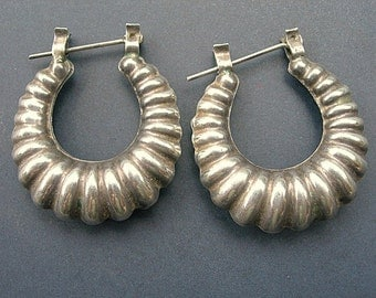 Vintage Sterling Silver Earrings Scalloped Loops Large Old Pawn FREE SHIPPING