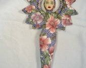 Precious Flower Goddess cloth art doll form w/face cab 10 in. tall You finish her Bead Decorate
