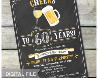 "Surprise 60th Birthday Chalkboard Invitation Cheers Wine Beer Party Invite Adult - Men Women - 5"" x 7"" Digital Invite"