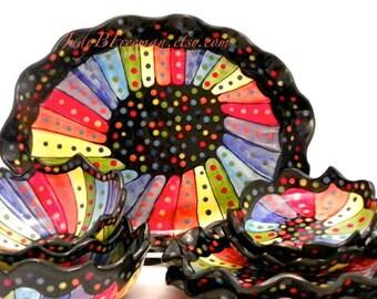 Ceramic Stoneware Rainbow Striped on Black Place Setting Eight Pieces Tableware PL0004