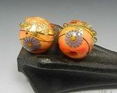 SRA HANDMADE LAMPWORK earring pair beads Donna Millard 22k gold teal boho gypsy hip hippie earrings