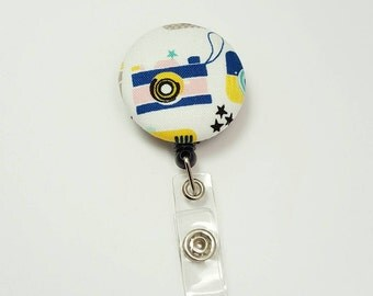 Retactable ID Badge Reel / ID Badge Holder / Name Badge Clip / Badge Pull / Nurse Badge Reel / Retractable Badge Holder - Blue Camera