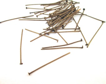 35mm brass plated headpins head pins (pick your amount) C222