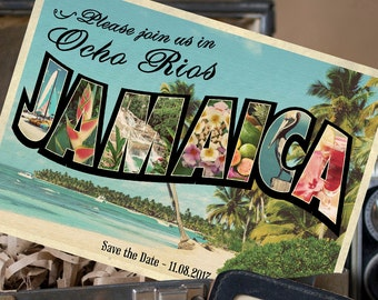Vintage Large Letter Postcard Save the Date (Ocho Rios, Jamaica) - Design Fee